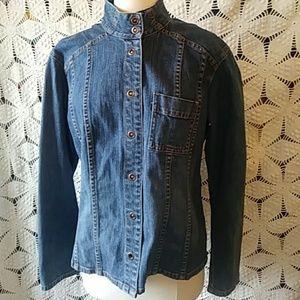 Chico's Platinum blue denim jacket-sz 12 (Chico 2)
